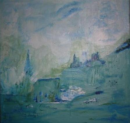 Blauw natuur - kunstigart.nl - 60 x 60 cm