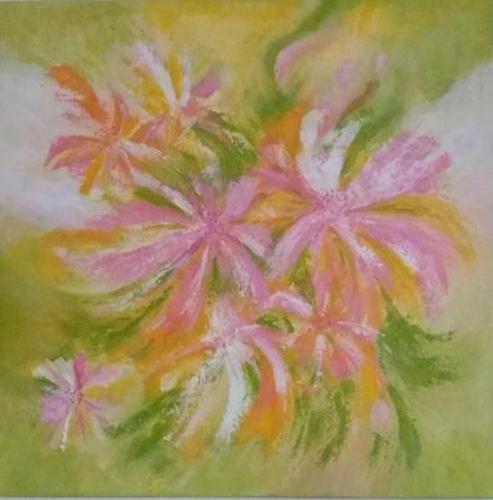Bloemen - kunstigart.nl - 80 x 80 cm. Te koop