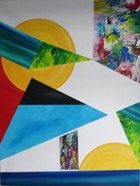 Compositie blauw - kunstigart.nl - 80 x 60 cm