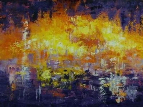 Lichtstad bij nacht - Kunstigart.nl 60 x 80 cm. Niet te koop
