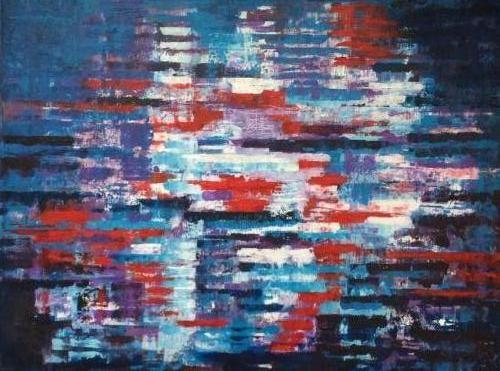 Reflectie in water -kunstigart.nl - 60 x 80 cm. Te koop