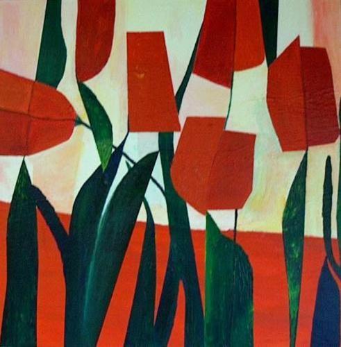 Rode tulpen - kunstigart.nl - 100 x 100cm