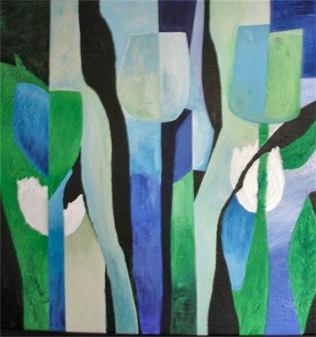 Tulpen blauw - kunstigart.nl - 100 x 100 cm