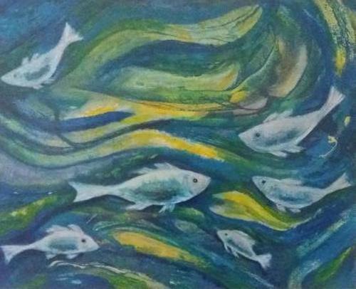 Visjes - kunstigart.nl - aquarel op papier. Niet te koop