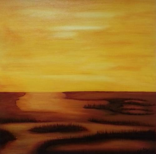 Wetlands Kunstigart.nl 60 x 60 cm intuïtief schilderen