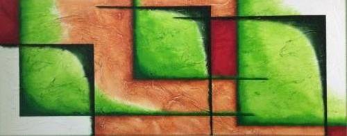Groene vlakken Kunstig Art - 40 x 100 cm intuïtief schilderen