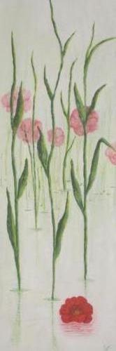 klaproos - kunstigart.nl - 90 x 30 cm