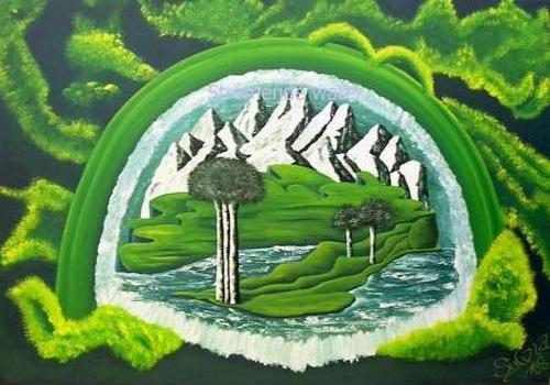Stromende wateren -Kunstig Art - 70 x 100 cm intuïtief schilderen