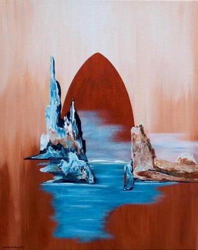 1e van duo zeeschap - Kunstig Art - 50 x 40cm intuïtief schilderen