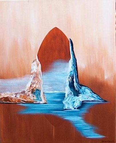 2e van duo zeeschap - Kunstig Art - 50 x 40cm intuïtief schilderen