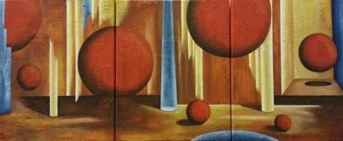 3 luik fantasie - Kunstig Art - 3 x 50 x 40 cm intuitief schilderen