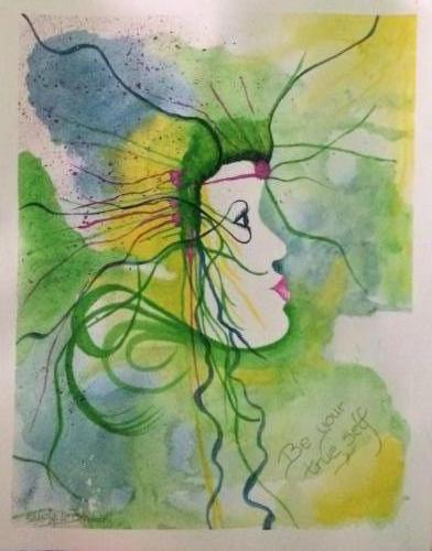 Be yout true self green blauw - Kunstig Art - 50 x 40 cm Intuïtief schilderen