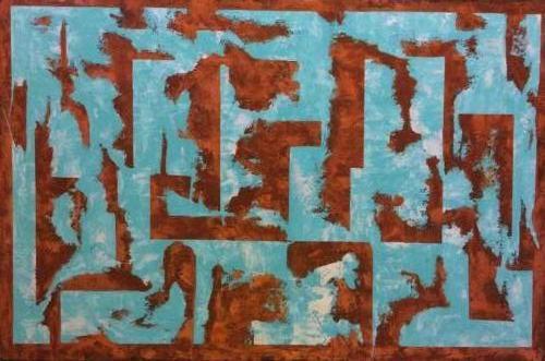 Doolhof - Kunstig Art - 60 x 80cm intuïtief schilderen