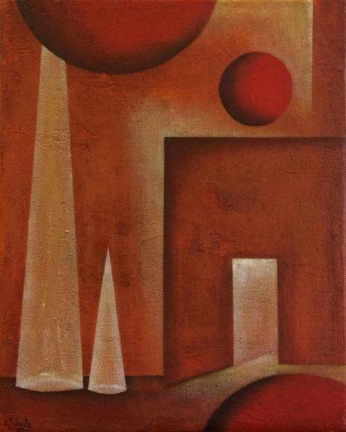 Doorgang - Kunstig Art  - 50 x 50 cm intuïtief schilderen