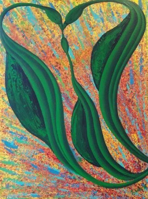 Drie eenheid (hoofd, hart en buik) - Kunstig Art - 80 x 60 cm intuïtief schilderen