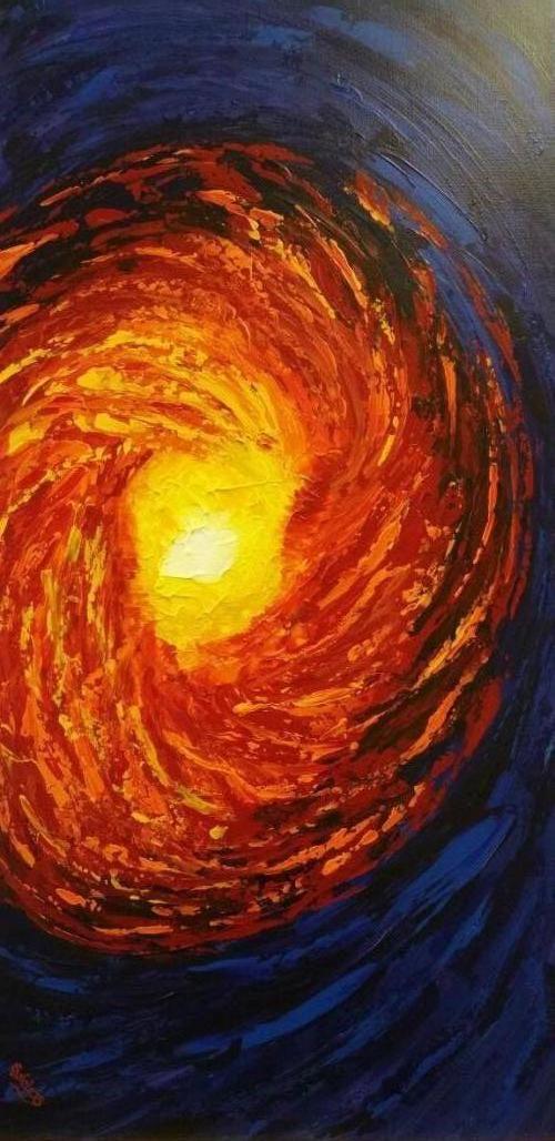 Energie stroming - Kunstig Art - 120 x 60 cm intuïtief schilderen