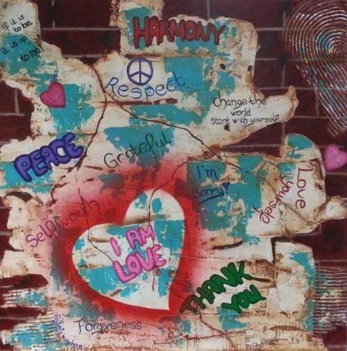 Graffiti wall - Kunstig Art - 80 x 80cm intuïtief schilderen