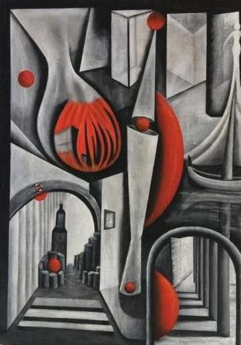 Reis door grijs - Kunstig Art - 100 x 70 cm intuïtief schilderen