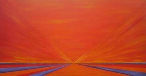 Twee werelden - 100 x 180 verkocht intuïtief schilderen
