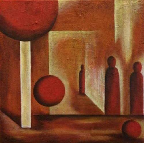 Uitkomen - Kunstig Art - 50 x 40 cm intuïtief schilderen