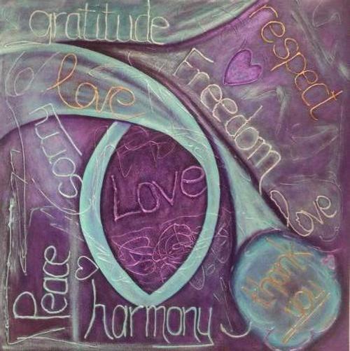 Universel love - Kunstig Art - 80 x 80 cm intuïtief schilderen