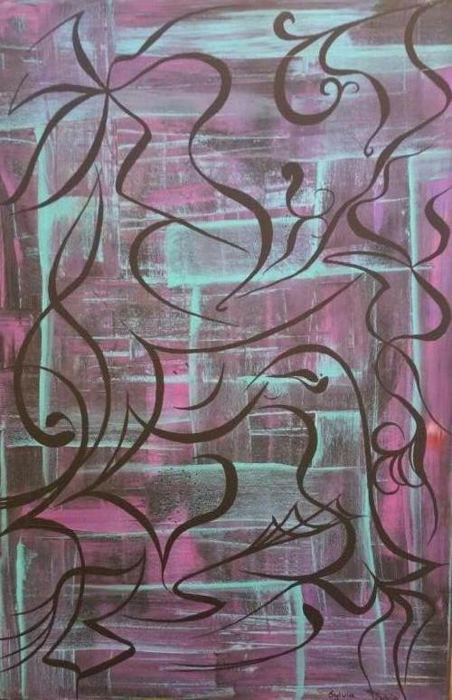 Doodles - Kunstig Art - 90 x 60 cm intuïtief schilderen