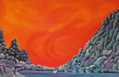 Uit het dal - Kunstig Art - 80 x 120 cm intuïtief schilderen