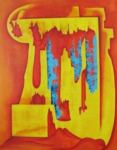 Zand kastelen - Kunstig Art - 100 x 70 cm intuïtief schilderen